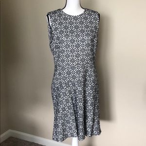 Tory Burch flared blue and white jacquard dress